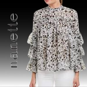 Nanette Lepore Triple Tiered Sleeve Blouse Small